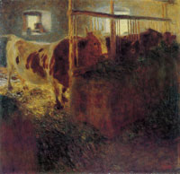 Gustav Klimt - Cows in a Stable