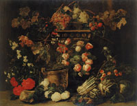 Jan Fyt Still Life with Flowers, Fruit and a Parrot