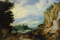 Joos de Momper II and Jan Brueghel Rocky Landscape with a Waterfall