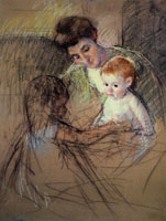 Mary Cassatt Sketch of Mother and Daughter Looking at the Baby