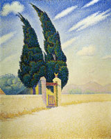 Paul Signac Two Cypresses, Mistral, Opus 241