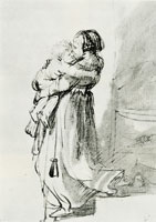 Rembrandt Saskia Carrying Rumbartus Down Stairs