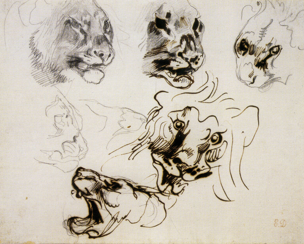 Eugène Delacroix - Heads of Roaring Lions and Lionesses