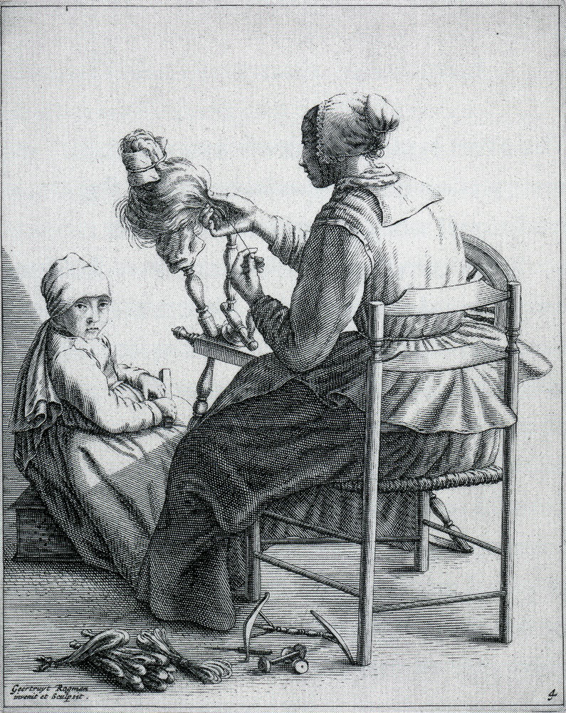 Geertruydt Roghman - Woman Spinning, with Girl