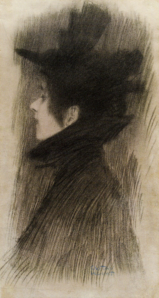 Gustav Klimt - Girl with Hat and Cape, in profile