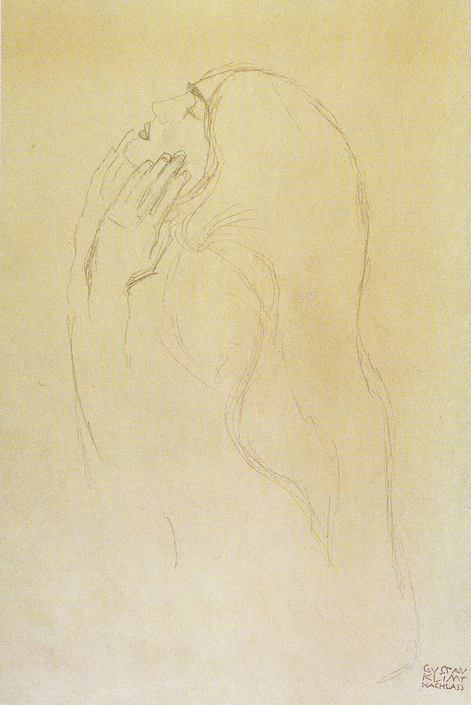 Gustav Klimt - Study of a Woman with Raised Hands