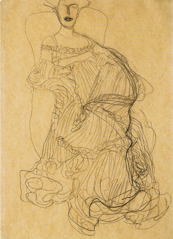 Gustav Klimt - Seated Woman in three-Quarter Profile Facing Right