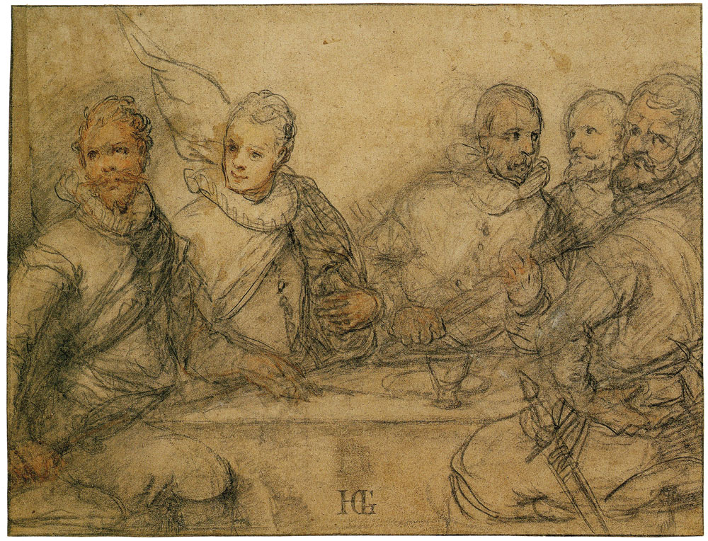 Hendrick Goltzius - Five Officers, Study of a Banquet of the Civic Guard