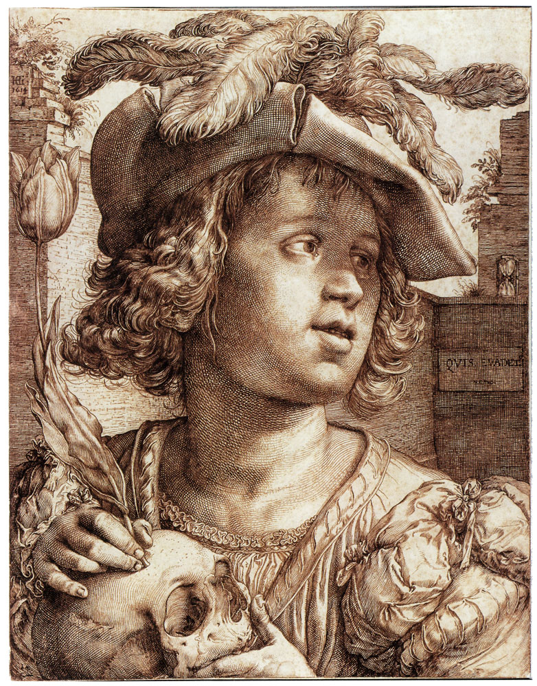 Hendrick Goltzius - Youth with a Skull and a Tulip