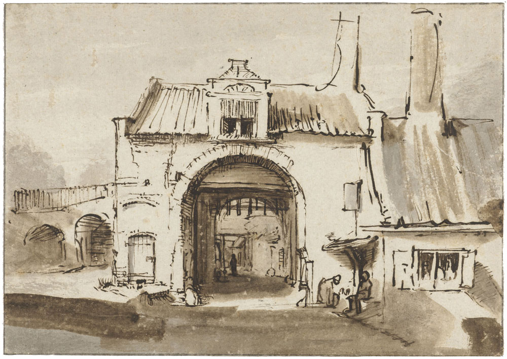 Follower of Rembrandt - Old Gate of a Town