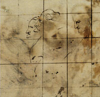 Anthony van Dyck Three heads from the recto traced through