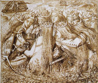 Dante Gabriel Rossetti King Arthur and the weeping queens