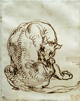 Eugène Delacroix Seated Feline Seen from Behind, Licking Its Paw