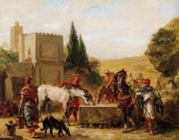 Eugène Delacroix Horses at a Fountain
