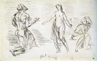 Eugène Delacroix Three Semi-Nude Figures, One a Woman Holding a Flower