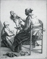Geertruydt Roghman Woman Spinning, with Girl