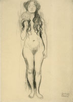 Gustav Klimt Female Nude with Mirror in Right Hand
