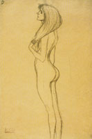 Gustav Klimt Standing Nude Girl in Profile Facing Left