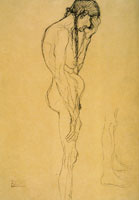 Gustav Klimt Standing Nude Old Woman in Profile Facing Right; Leg Study