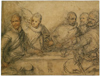 Hendrick Goltzius Five Officers, Study of a Banquet of the Civic Guard