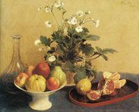 Henri Fantin-Latour - Still Life: Flowers, Dish with Fruit and Carafe