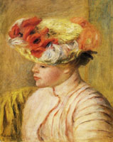 Pierre-Auguste Renoir Young Woman in a Flowered Hat