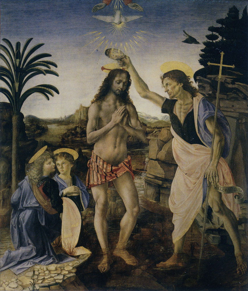Andrea del Verrocchio and workshop, completed by Leonardo da Vinci - The Baptism of Christ