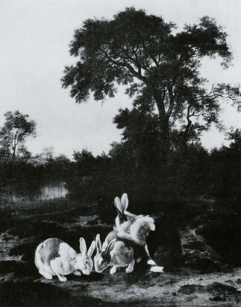 Dirck Wijntrack - Rabbits at the mouth of a burrow