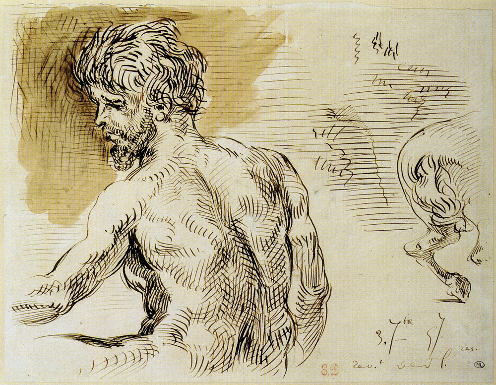 Eugène Delacroix - Half-Length Bearded Man, from the Back, Turned Toward the Left, and Horse's Buttocks
