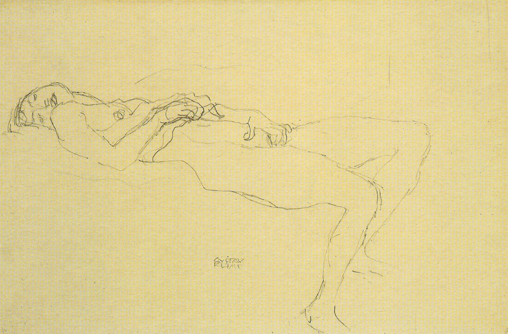 Gustav Klimt - Reclining Nude