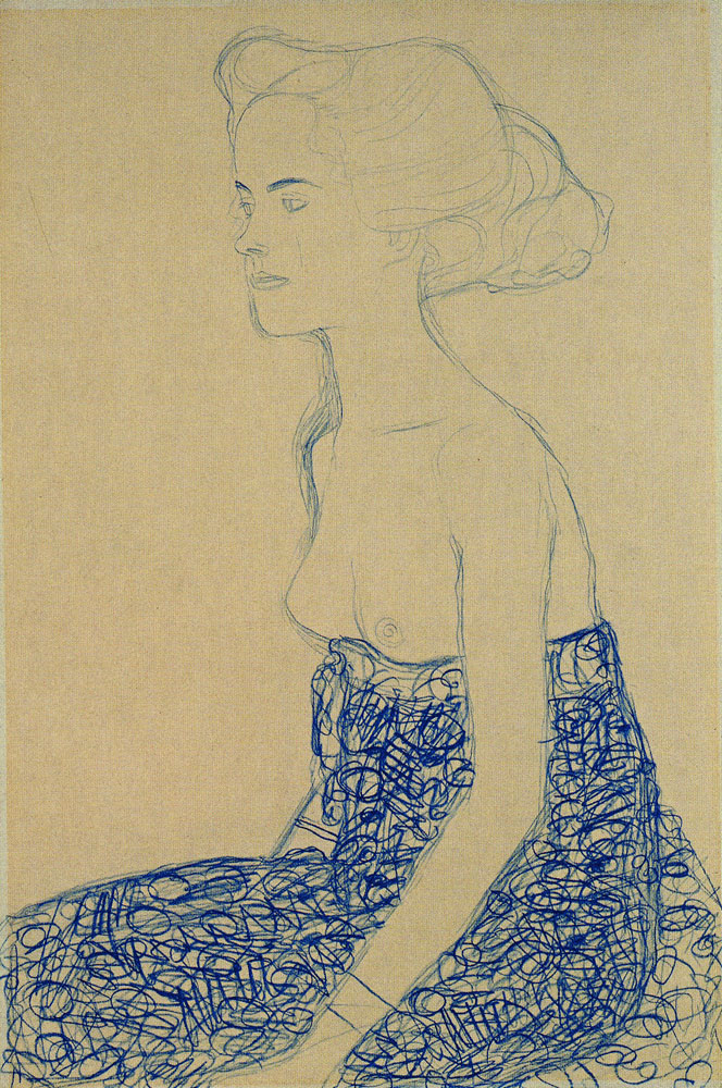 Gustav Klimt - Seated Semi-Nude in Three-Quarter Profile