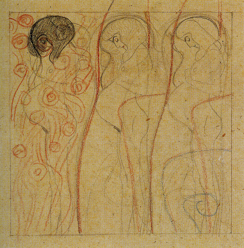 Gustav Klimt - Three Studies of Pregnant Woman in Profile for