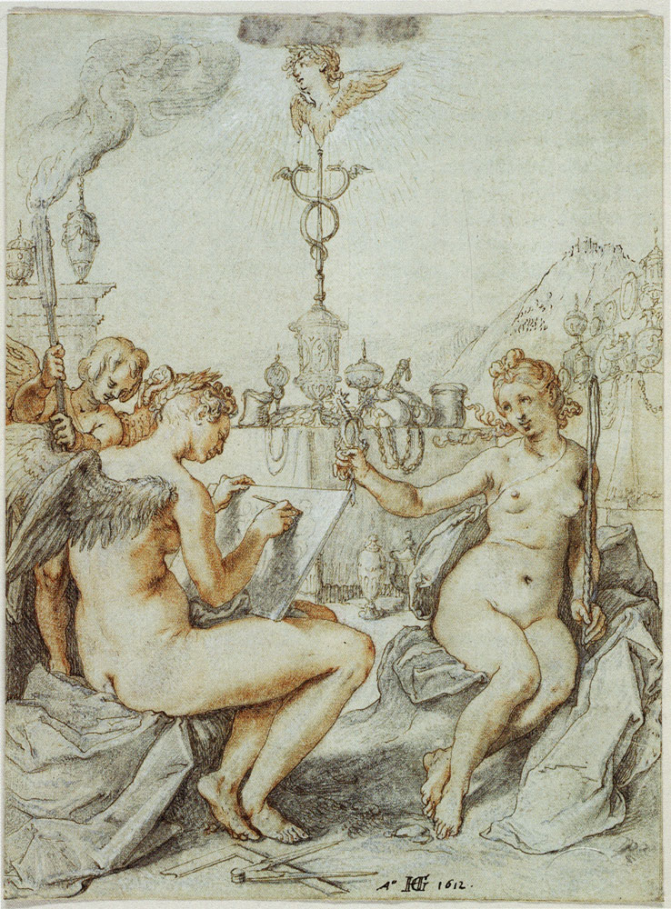Hendrick Goltzius - Allegory on the Art of Drawing with the Emblem of the Artist