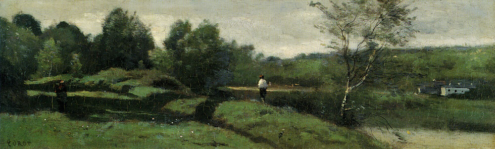 Jean-Baptiste-Camille Corot - Landscape with a boy in a white shirt