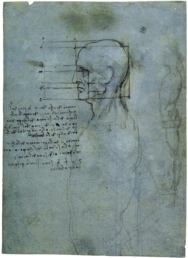 Leonardo da Vinci - The Proportions of the Male Head; A Standing Male Nude