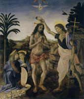 Andrea del Verrocchio and workshop, completed by Leonardo da Vinci The Baptism of Christ