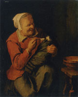 David Ryckaert III Peasant Woman with a Cat