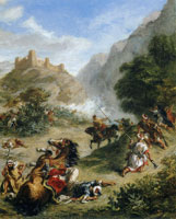 Eugène Delacroix Arabs Skirmishing in the Mountains