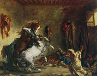 Eugène Delacroix Horses Fighting in a Stable