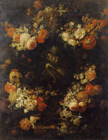 Gaspar Peeter Verbruggen II Garland of Flowers Around a Cartouche with a Bronze Statuette of Apollo