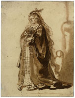 Gerbrand van den Eeckhout Study of a Woman in an Elaborate Costume Seen from the Front