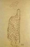 Gustav Klimt Standing Pregnant Woman in Profile with Wrap