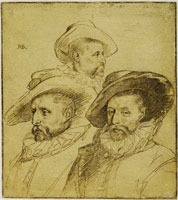 Hendrick Goltzius Sheet with Three Studies of a Man's Head