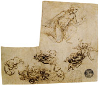 Leonardo da Vinci Sketches for an Adoration of the Shepherds with Angels