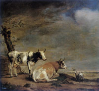 Paulus Potter Landscape with Two Cows and a Goat