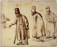 Rembrandt Three Studies of a Bearded Man on Crutches and a Woman