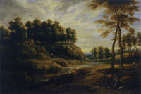 Lucas van Uden and David Teniers the Younger Landscape with a Waterfall