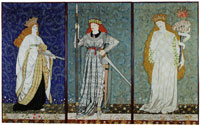 William Morris and Elizabeth Burden Three-fold screen with embroidered panels depicting heroines