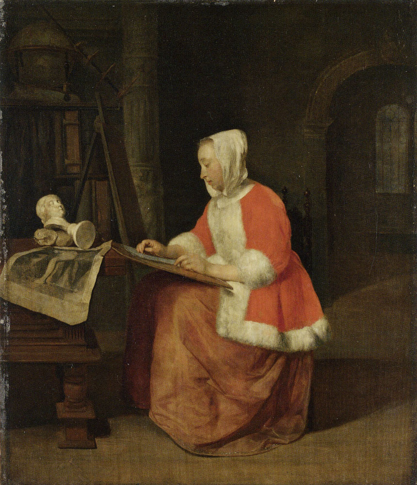 Gabriel Metsu - A Young Woman seated drawing