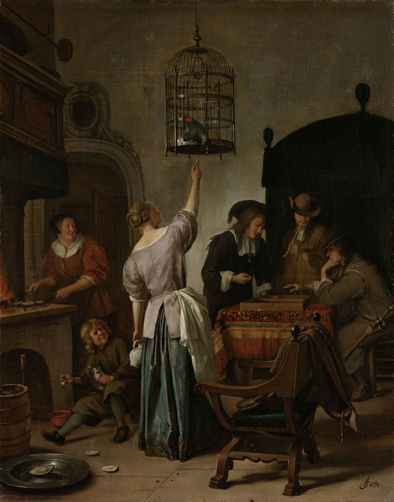 Jan Steen - Interior with a Woman Feeding a Parrot
